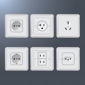 stock photo of electric socket  - Set of plastic electrical socket different countries - JPG