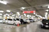 picture of parking lot  - Blur or Defocus image of Underground Parking Lot - JPG
