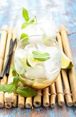 stock photo of bamboo leaves  - Fresh mojito cocktail on bamboo placemat - JPG