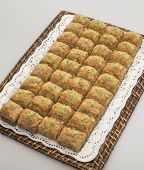 stock photo of baklava  - Traditional turkish sweets with pistachio  - JPG