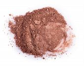 pic of face-powder  - Scattered brown powder isolated on a white background - JPG