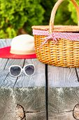 image of wooden basket  - Ready for summer weekend - JPG