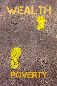 foto of poverty  - Yellow footsteps on sidewalk from Poverty to Wealth message - JPG
