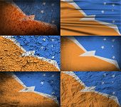 stock photo of tierra  - Flag of Tierra del Fuego Province with old texture - JPG