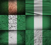 stock photo of nigeria  - Flag of Nigeria with old texture - JPG