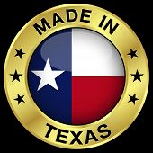 stock photo of texas star  - Made in Texas gold badge and icon with central glossy Texan flag symbol and stars - JPG