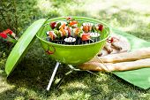 picture of roasted pork  - Grill barbecue food with meat and vegetables - JPG