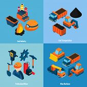 image of minerals  - Coal industry design concept set with transportation mine machines and professional miner isometric icons isolated vector illustration - JPG