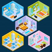 picture of tv sets  - Isometric hotel interior set with 3d furniture and decoration icons isolated vector illustration - JPG