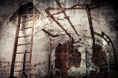 stock photo of ww2  - Old abandoned empty bunker interior with white walls and rusted constructions - JPG