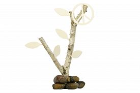 picture of birchwood  - Isolated birchwood with a wooden symbol for peace - JPG
