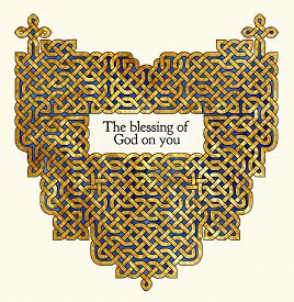 stock photo of celtic  - Blessing with antique style gold Celtic knot design - JPG