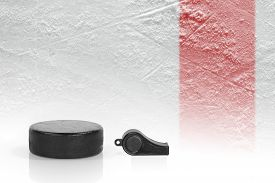 pic of referee  - Referee whistle washer and a fragment of ice hockey rink - JPG