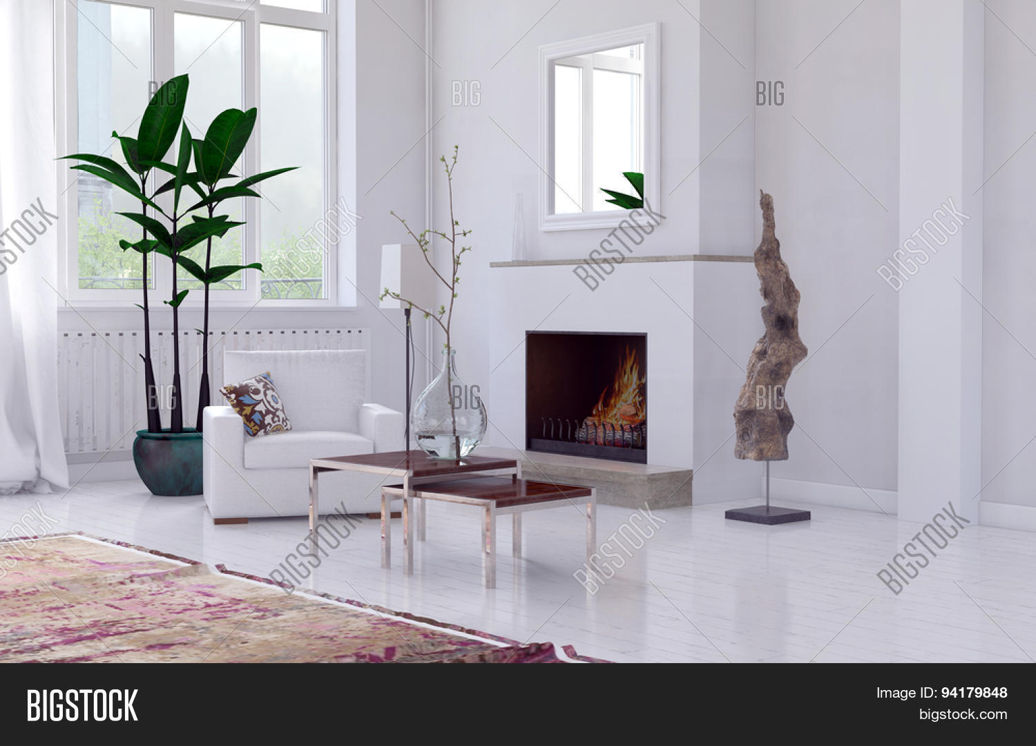Cozy minimalist white living room interior with fireplace for Cozy minimalist interior