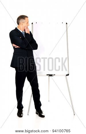 Pensive businessman thinking about presentation