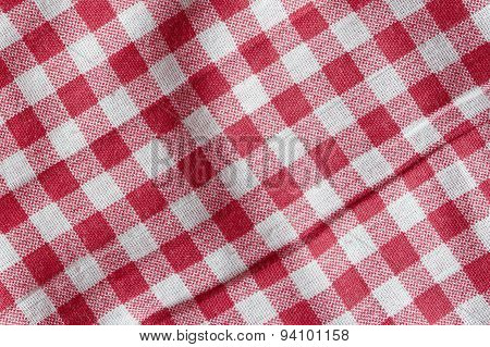 Red And White Crumpled Picnic Blanket.