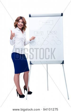 Full length portrait of a smiling businesswoman showing thumb up and pointing on flipchart isolated on a white background. Looking at camera