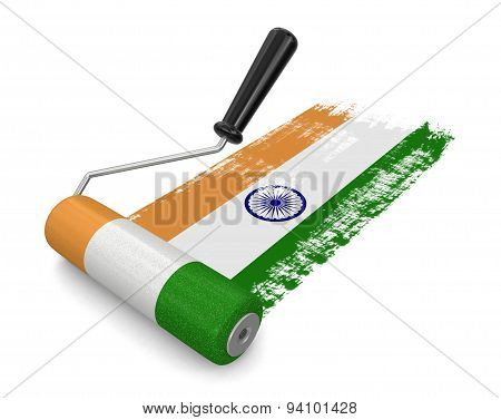 Paint roller with Indian flag (clipping path included)
