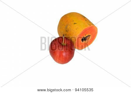 Apple And Sliced Papaya Isolated Clipping Path