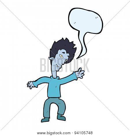 cartoon halloween vampire with speech bubble