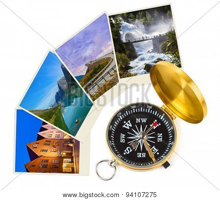 Norway travel images and compass - nature and architecture concept (my photos)