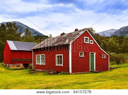 Houses in Kinsarvik Norway - architecture and travel background