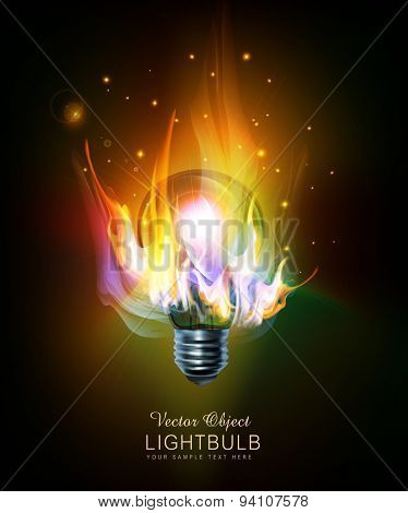 vector light bulb with a burning fire