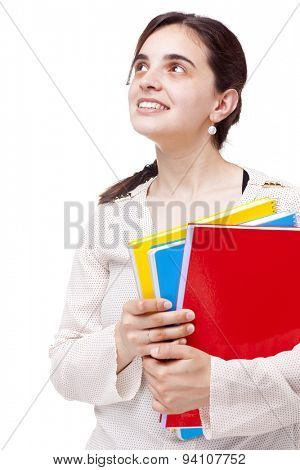 Smiling female student looking up, isolated on white background