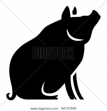 Vector Stylized Pig Illustration Isolated On White Background