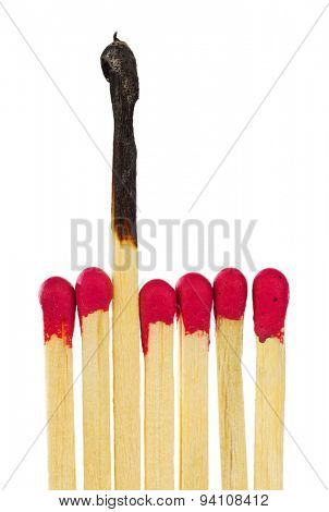 Matches - leadership or inspiration concept isolated on white background