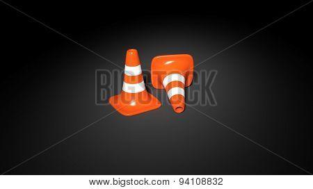 Orange traffic cones isolated on black background