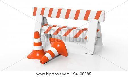 Orange traffic cones and barrier isolated on white background