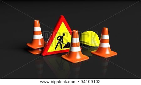 Traffic cones,helmet and warning sign isolated on black background