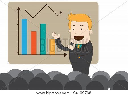 A Cartoon Businessman Is Presenting Or Teaching Businesspeople For Business Knowledge And Market Tre