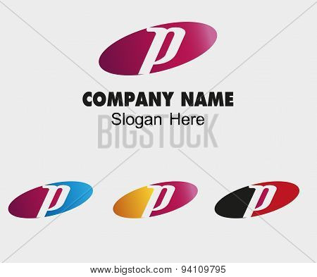 P letter logo template with elip symbol