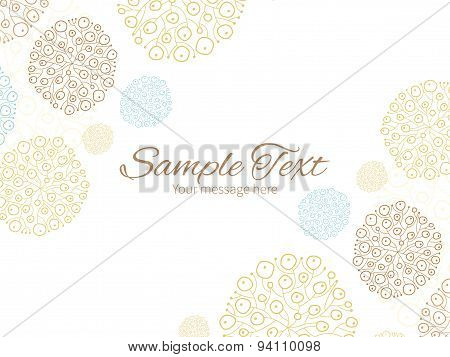 Vector blue brown abstract seaweed texture horizontal double corners frame invitation template