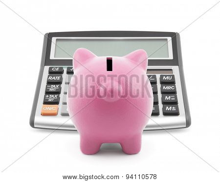 Piggy bank with callculator isolated on white