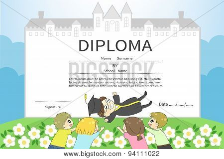 Cartoon Male College Student With Friends Celebration Diploma Certificate With School Or University