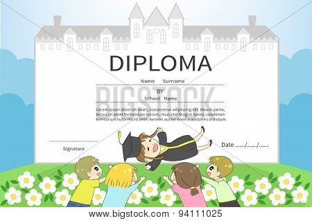 Cartoon College Schoolgirl Student With Friends Celebration Diploma Certificate With School Or Unive