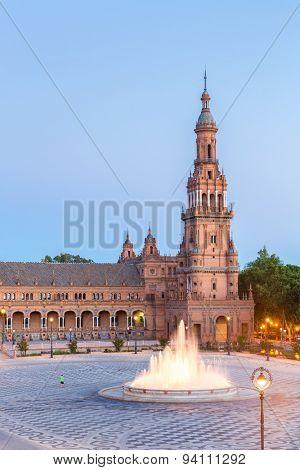 Spanish Square espana Plaza in Sevilla Spain at dusk