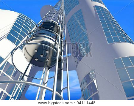Lift on a background of a modern building.