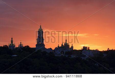 Kyiv Pechersk Lavra At Sunset