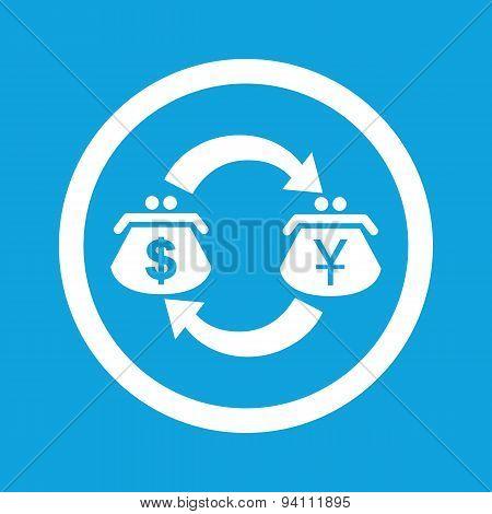 Dollar-yen exchange sign icon