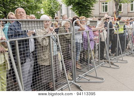 RIGA, LATVIA - JUNE 20: people protesting acceptance of homosexuality in Europride 2015 on June 20, 2015 in Riga, Latvia