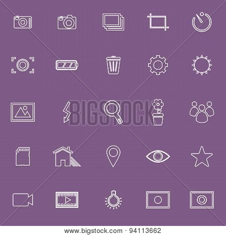Photography Line Icons On Violet Background