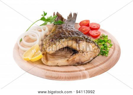 Close up of grilled carp steak.