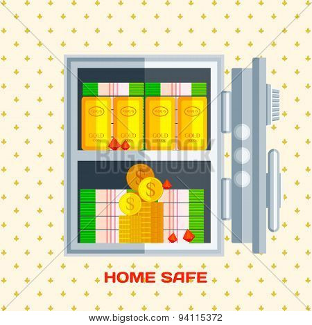 Open safe with money , gold and jewels . Flat style vector illustration
