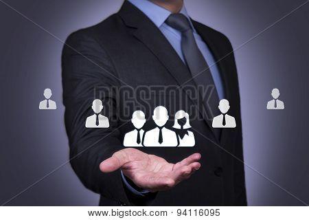 Human Resource on Businessman Hand