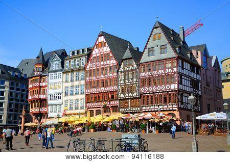 Romerberg (romerplatz) With Old Buildings in Frankfurt, Germany on Mai 2012