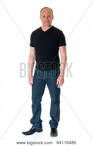 Casual adult man in black shirt. Studio shot over white.